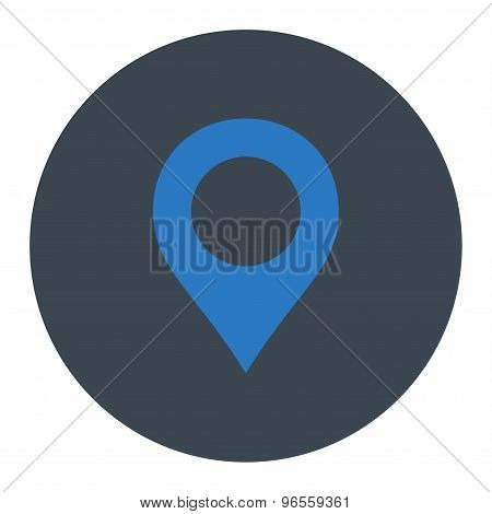 Map Marker flat smooth blue colors round button