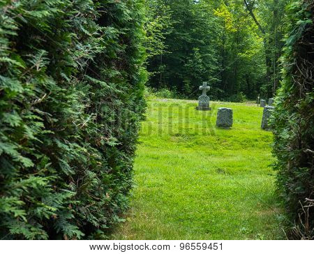 granite gravestones in private cemetery