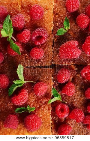 Fresh pie with raspberry and mint, closeup