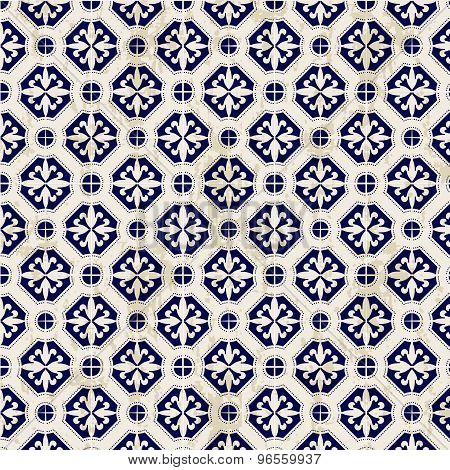Seamless vintage Chinese blue and white porcelain diamond round pattern background.