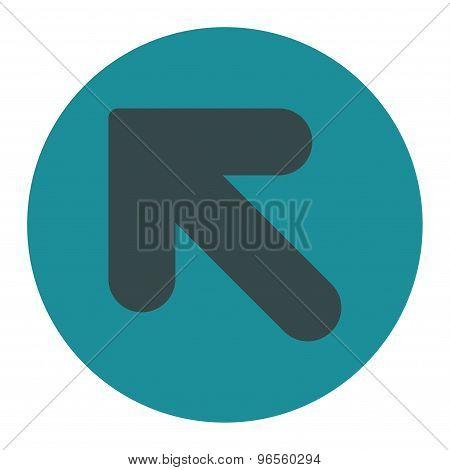 Arrow Up Left flat soft blue colors round button