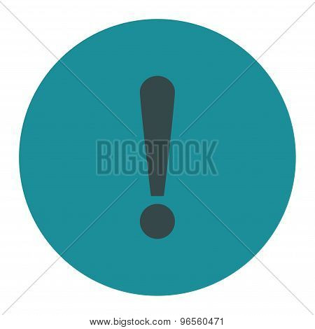 Exclamation Sign flat soft blue colors round button