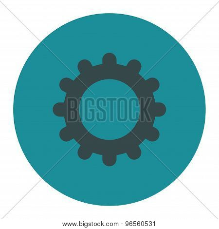Gear flat soft blue colors round button