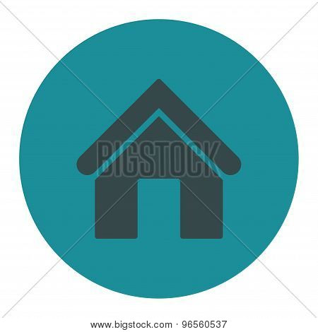 Home flat soft blue colors round button