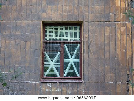 Window Crosses In The Area To Be Shelling. Ukraine