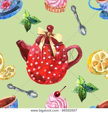 Watercolor Tea Seamless Pattern