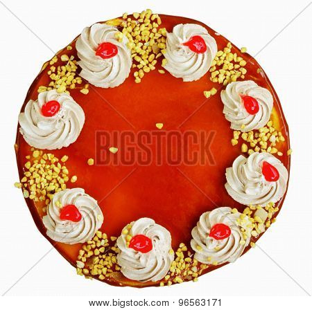Cake isolated on white closeup