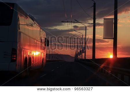 Bus at dawn