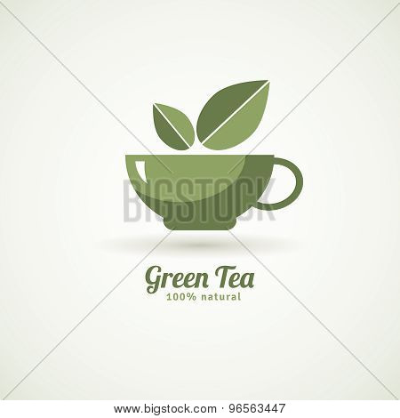Green tea cup leaf design icon