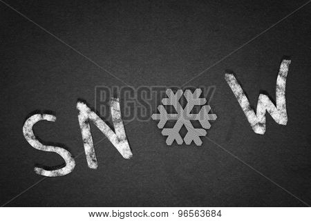 Word snow on concrete background with snowflake instead of letter O