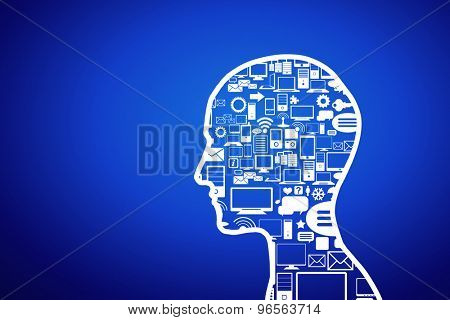 Silhouette of human head with technology concepts instead of brain