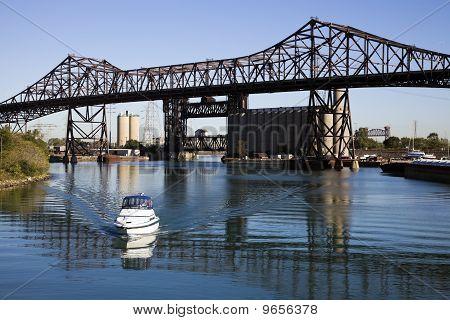 Boat Under Chicago Skyway