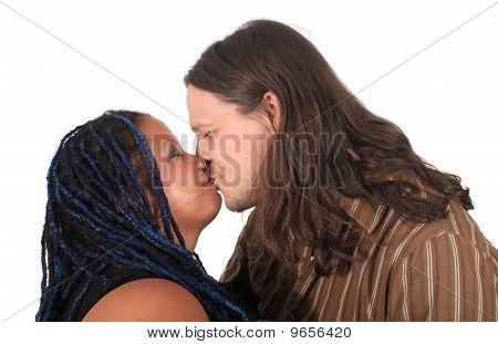 Multi Race Couple Kissing