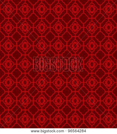 Seamless Chinese window tracery diamond square geometry line pattern background.