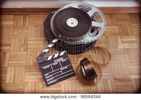 Cinema Movie Clapper Board And Film Reel