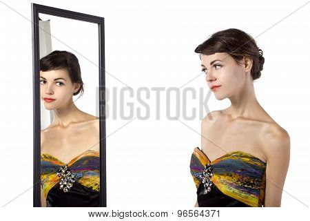 Woman Looking at a Mirror