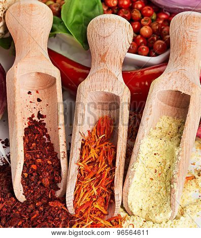 Spices And Seasonings On A White Background
