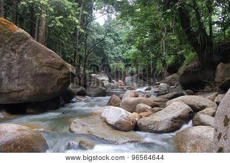 Beautiful mountain river in sulawesi island