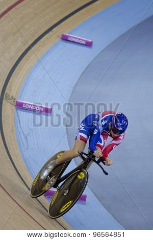 LONDON, ENGLAND. FEBRUARY 18 2012: Joanna Roswell (GBR) in action at the UCI Track Cycling World Cup at the London Velodrome, Queen Elizabeth 2nd Park