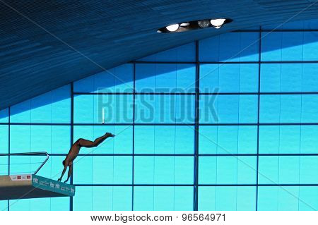 LONDON, GREAT BRITAIN - APRIL 26 2015: A general view during the FINA/NVC Diving World Series at the London Aquatics Centre