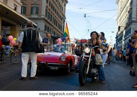 Rome, Italy - July 9 2005. Gay Pride Day, Parade People In Rome