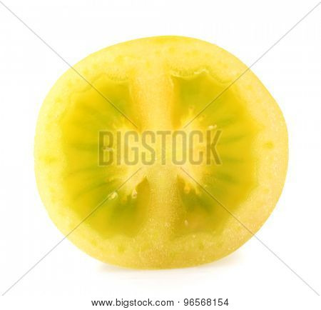 Half of green tomato isolated on white