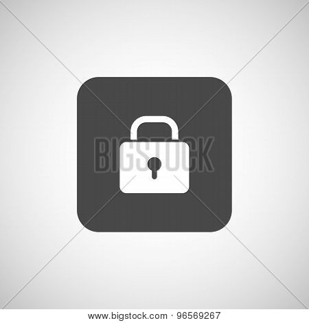 Blue lock icon with protection key password blocked