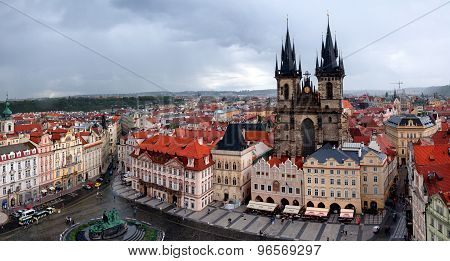 Old Town Square in Prague, Czech republic in rainy day