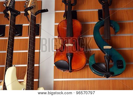 Violin in music store