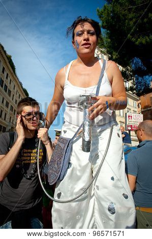 Rome, Italy - June 11 2011. Euro Gay Pride Day, Parade People In Rome
