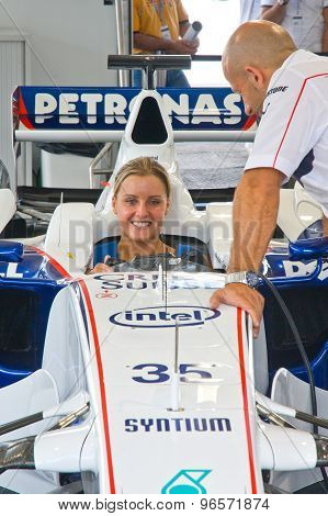 Rome, Italy - June 23 2007. Formula 1 Sauber Bmw With Young Girl Sits Inside