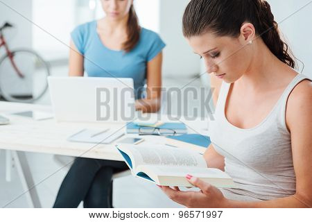 Teen Girls Studying At Home