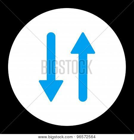 Arrows Exchange Vertical flat blue and white colors round button