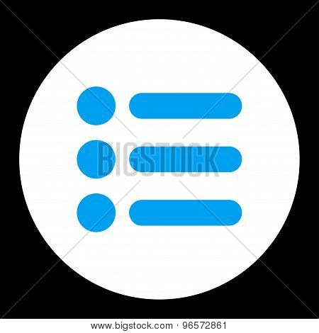 Items flat blue and white colors round button