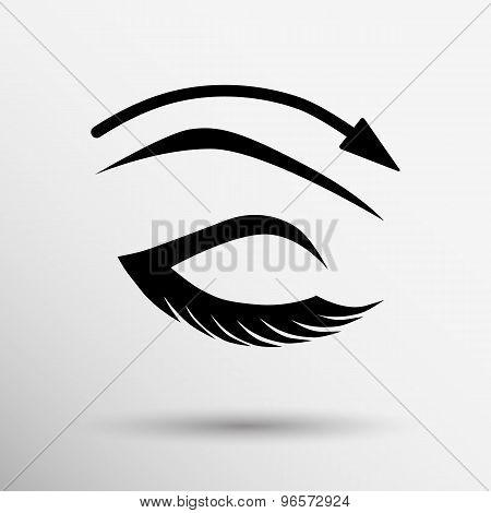 eyelash pinching eye vector icon makeup isolated glamour cosmetic female fashion