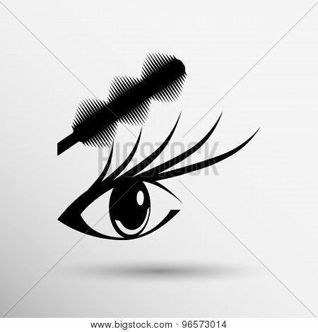 Illustration brushes mascara and mascara brush makeup eye eyelash.