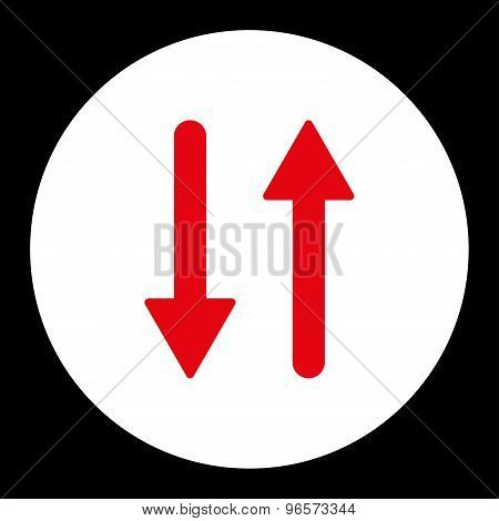 Arrows Exchange Vertical flat red and white colors round button