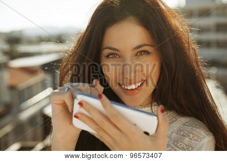 woman and smartphone