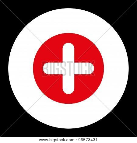 Create flat red and white colors round button