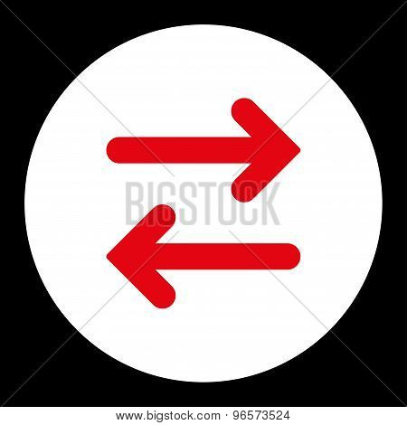 Flip Horizontal flat red and white colors round button