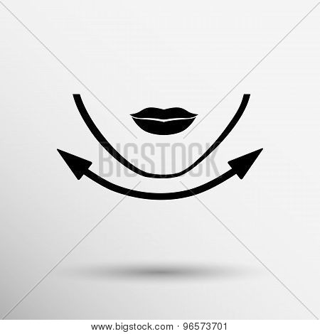 Beautiful woman face chin oval align icon