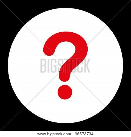 Question flat red and white colors round button