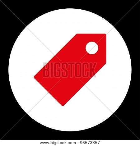 Tag flat red and white colors round button