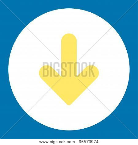 Arrow Down flat yellow and white colors round button
