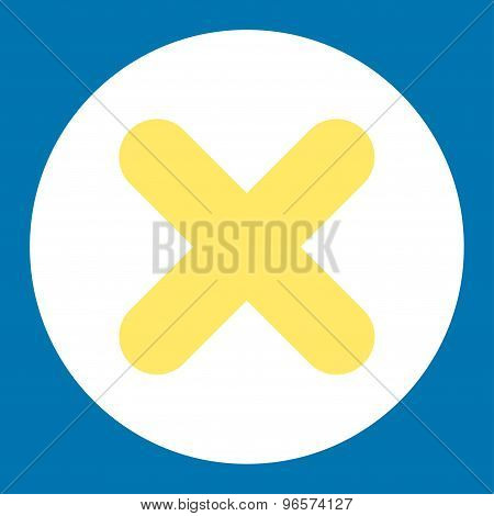 Cancel flat yellow and white colors round button