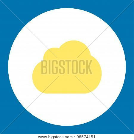 Cloud flat yellow and white colors round button