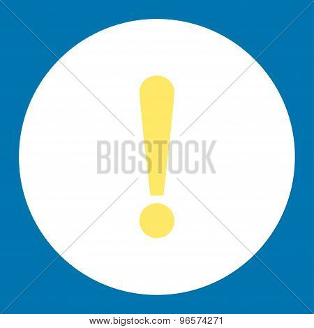 Exclamation Sign flat yellow and white colors round button