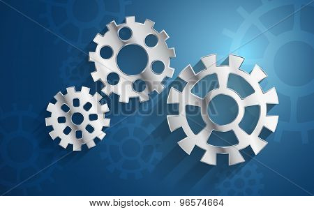 blue background set metal gear mechanism