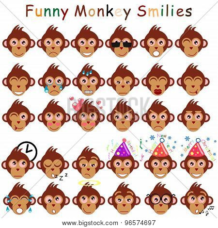 Male Set Of Smilies In Form Of Head Monkeys With Different Emotions
