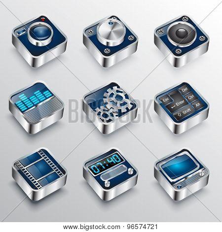 set of universal media icons 3d Cinema symbols